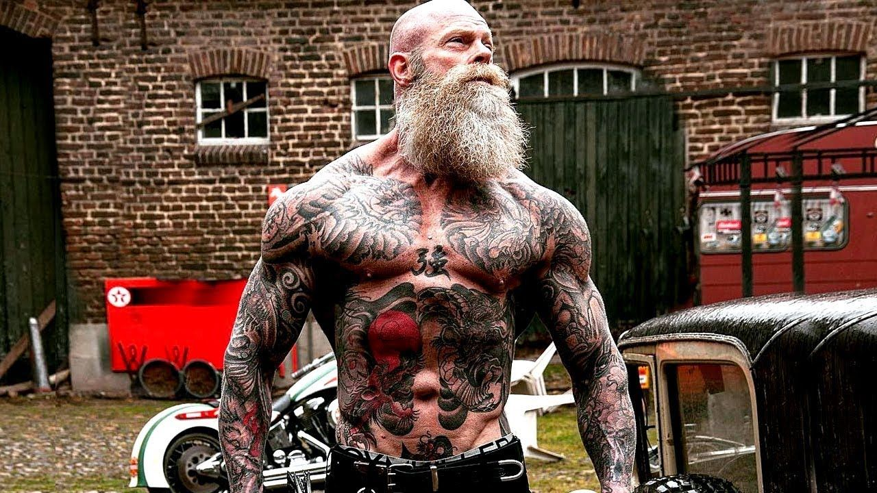 Tattooed Gymkiller Juan Rekers One Old Dutch Viking Https Www Youtube Com Watch V Ik4gx75vx2c Bearded Tattooed Men Warrior Workout Old Bodybuilder