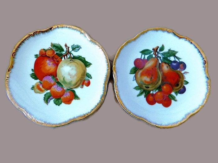 Mid-Century Japanese Decorative Fruit Painted Plate Gold Edged Scallop Plate Set Vintage Fruit Decor Apple Grapes Pear Kitchen Wall Plate by on Etsy & Mid-Century Japanese Decorative Fruit Painted Plate Gold Edged ...