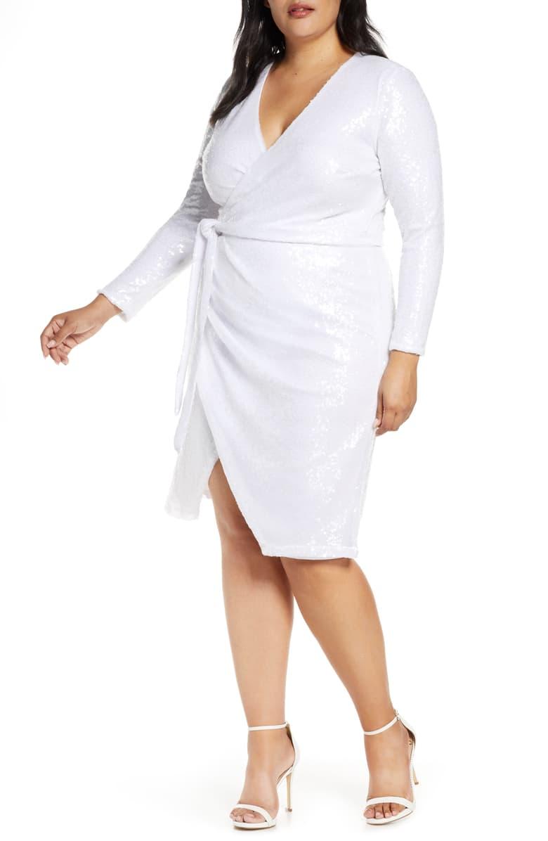 Eloquii Long Sleeve Sequin Wrap Dress Plus Size Nordstrom Sequin Wrap Dress Long Sleeve Sequin Wrap Dress [ 1196 x 780 Pixel ]