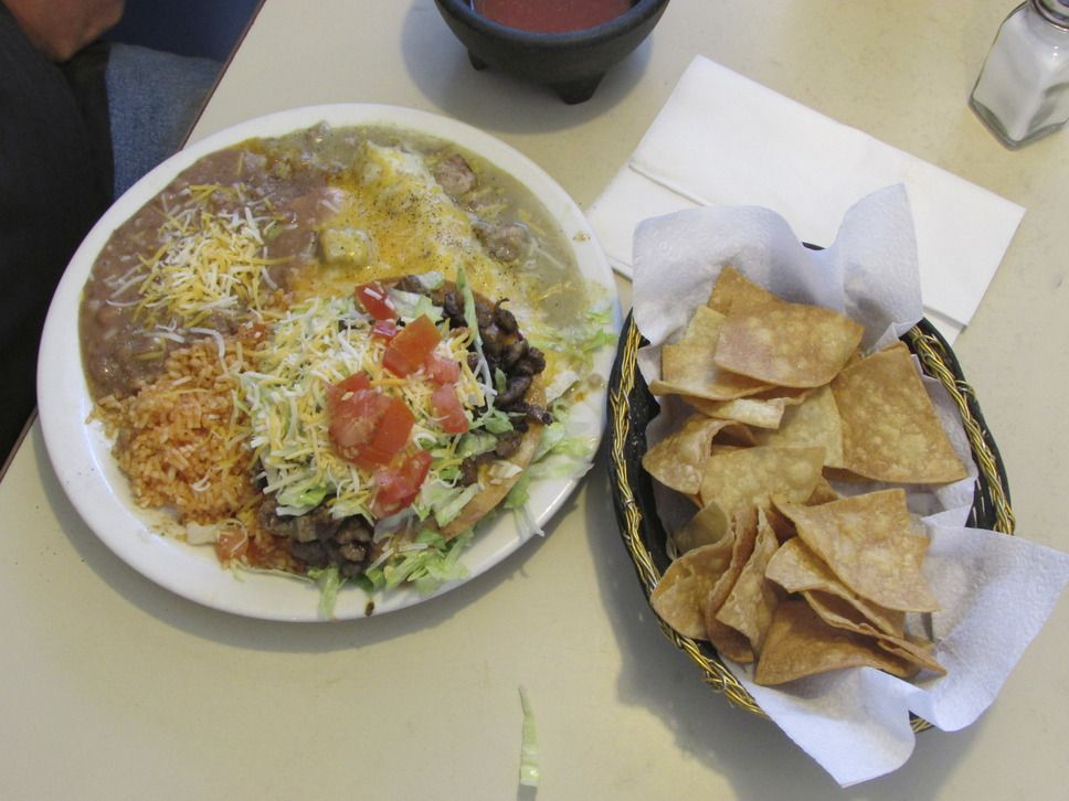 The Pancho Special that includes a chile verde burrito, steak tostada, steak enchilada, rice and beans, is a specialty at the Salt Flats Cafe near the Bonneville Salt Flats. (Tom Wharton Photo).