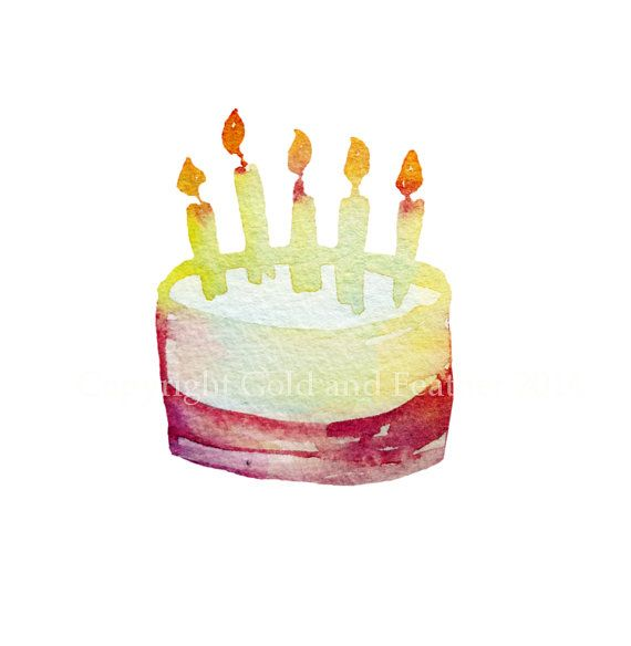 Happy Birthday Cake Clip Art Party Image Candles Instant Download - birthday cake card template