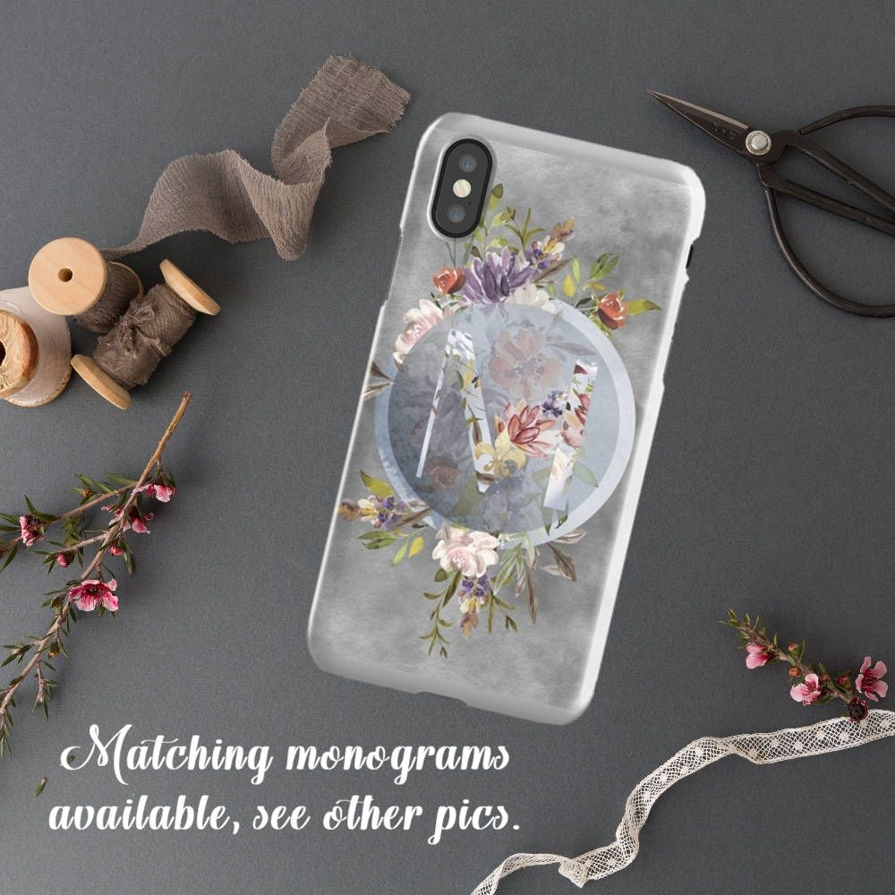 Excited to share the latest addition to my #etsy shop: Watercolor Floral iPhone 8 Plus Case, Monogram Personalized Phone case titled:  Moody Spring.   http://etsy.me/2GJ9cm3 #accessories #case #cellphone #gray #wedding