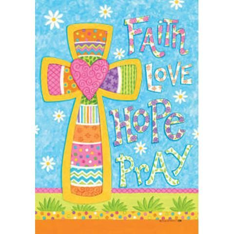 Faith Love Hope Pray Double Sided Flag Easter Decor Garden Flags Faith In Love Kids Rugs