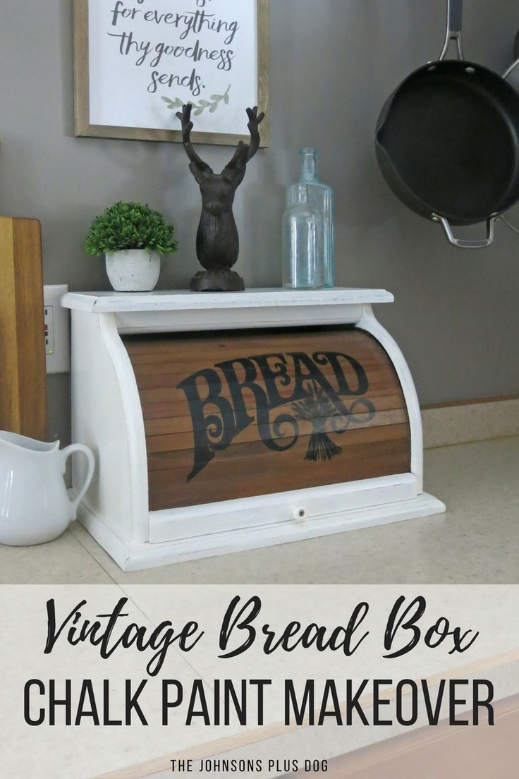 I M Excited That To Be Joining The Ladies That Do The Monthly Amazing Thrift Store Decor Upcycle Ch Vintage Bread Boxes Chalk Paint Makeover Thrift Store Decor