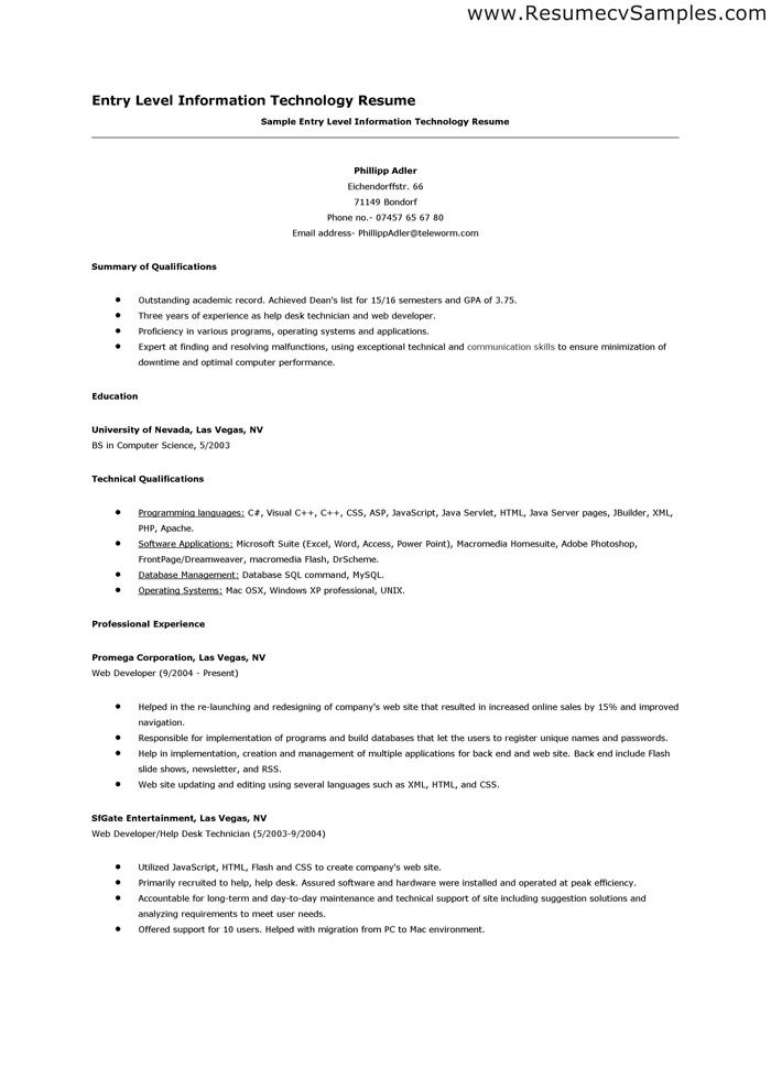 sample information technology resume entry level