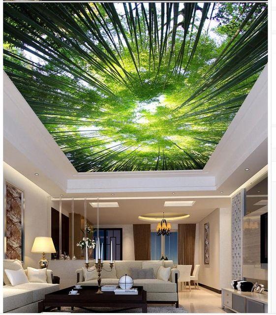 Wallpaper 3d Mural Bamboo Living Room Bedroom Ceiling Sky 3d Wallpaper  Living Room Non Woven Wallpaper_640x640 (561×640)   Diy My House    Pinterest ...