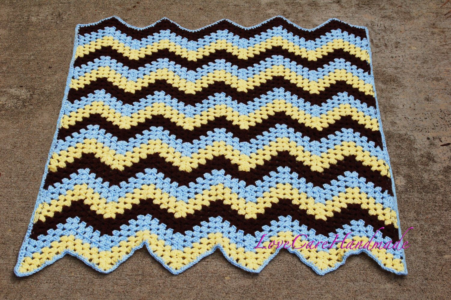 Crochet Boy Blanket, yellow, blue, brown, chevron pattern