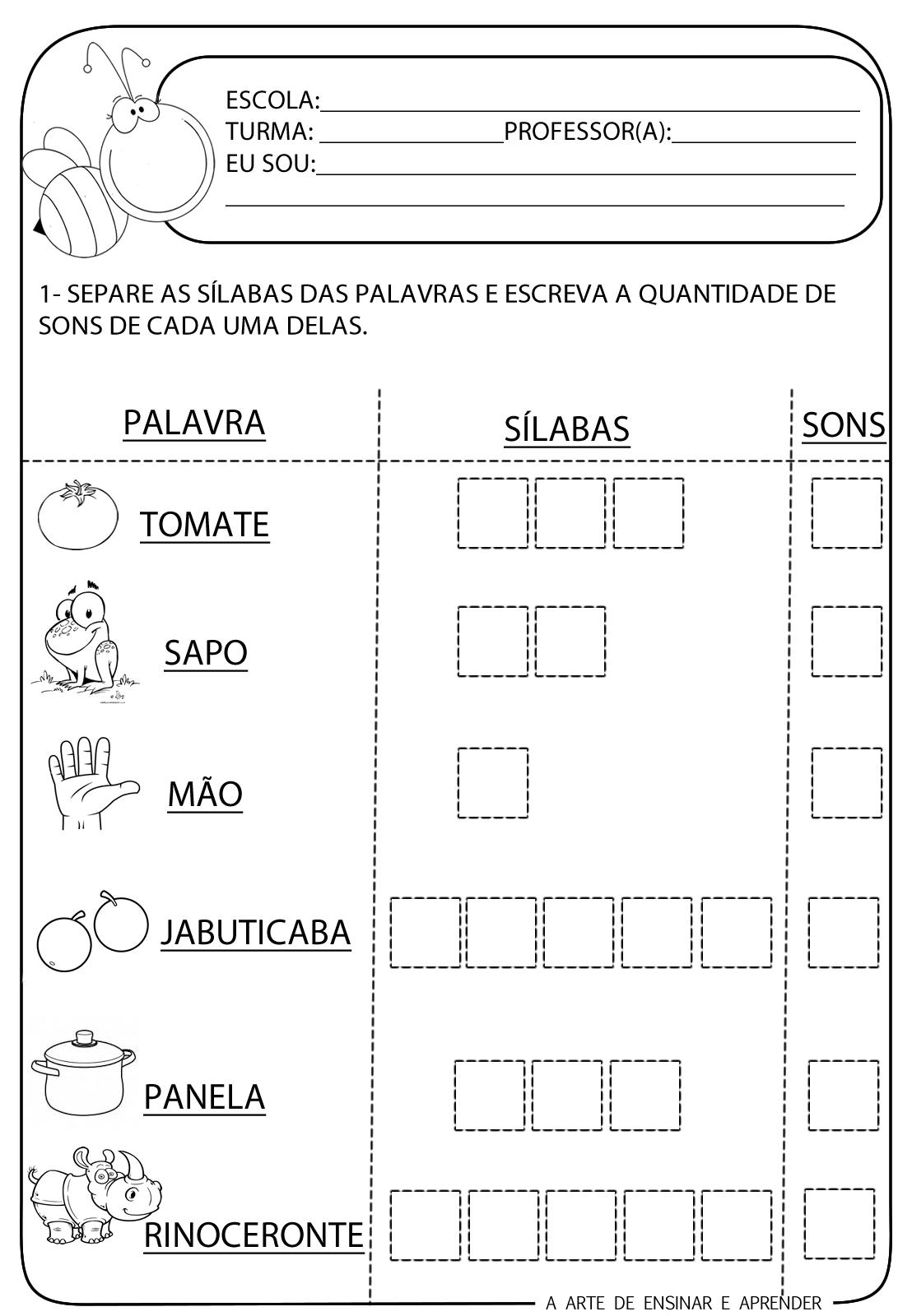Well-known A Arte de Ensinar e Aprender: Atividade pronta - Sílabas, sons  CD66
