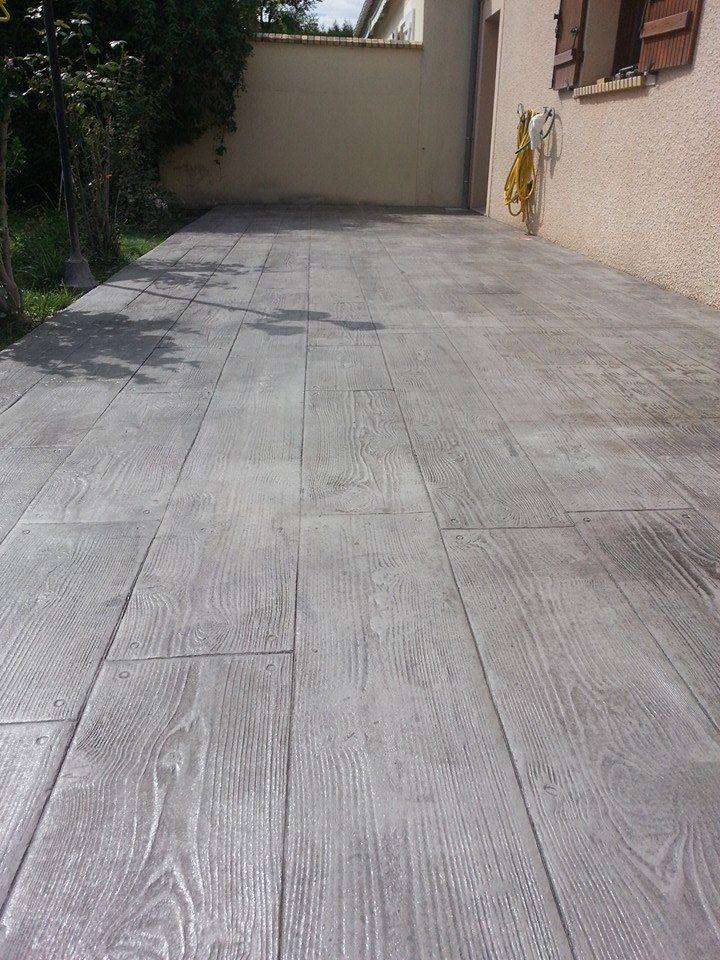Beton imprime imitation bois, imitation parquet #parquet - Comment Faire Terrasse Beton