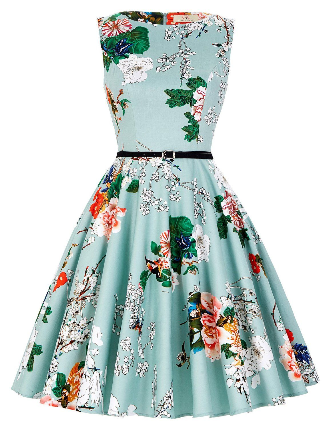 206026a8e0c2 GRACE KARIN BoatNeck Sleeveless Vintage Tea Dress with Belt at Amazon  Women's Clothing store: