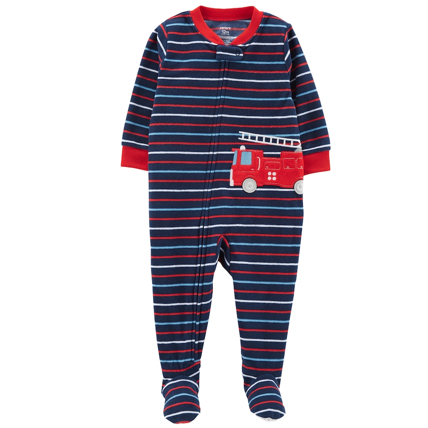 99611ff921bf Toddler Boy Carter s Striped Firetruck Microfleece Footed Pajamas in ...