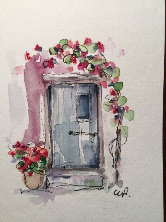 Doorway Watercolor Card / Hand Painted Watercolor Card   I love inviting doorways. This is a hand painted original watercolor card. The card is 5x7 and is blank inside. I have used ink and watercolor on this card. I have painted it on heavy card stock. Comes with a matching envelope in a protective sleeve.