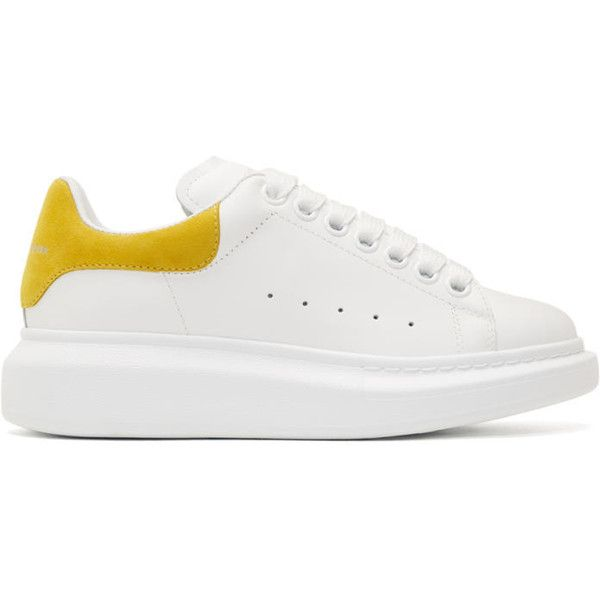 Alexander McQueen White and Yellow Oversized Sneakers (4 500 SEK) ❤ liked  on Polyvore