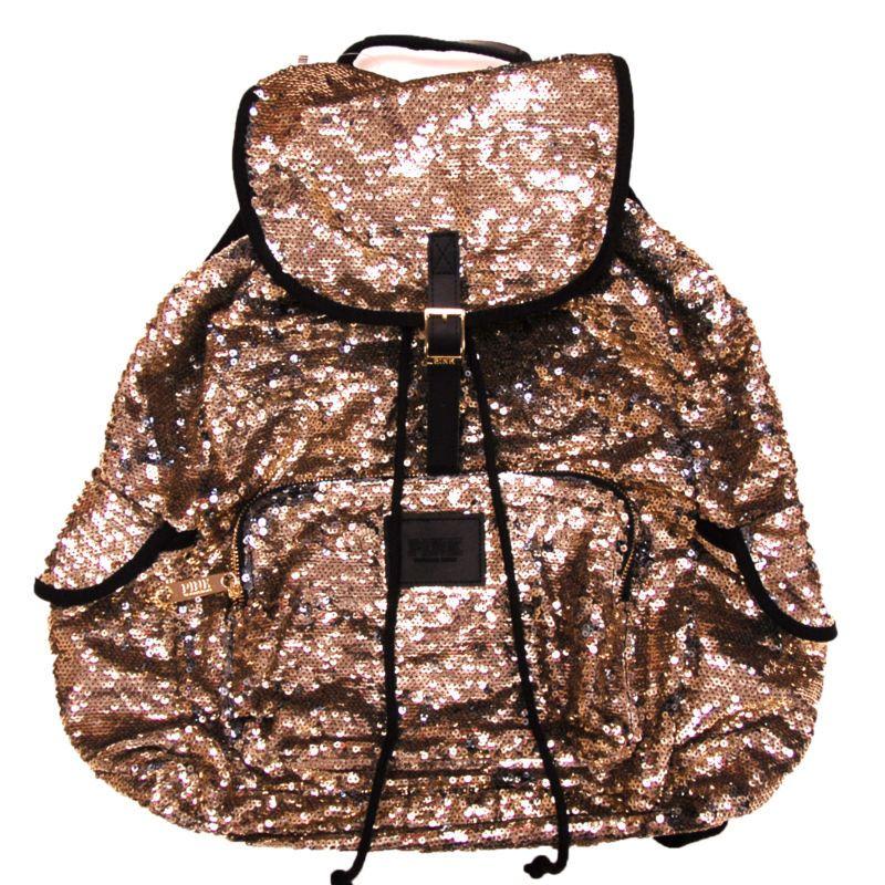 Victorias Secret Pink Backpack Bling Sequins Gold Silver Bookbag