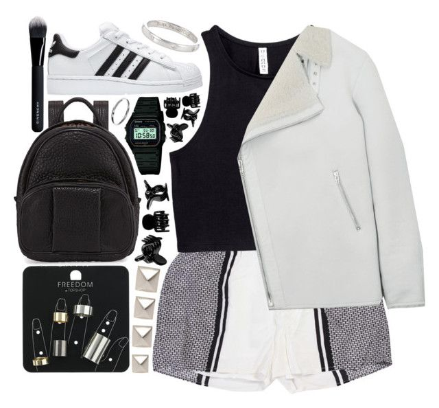"""""""Geen titel #366"""" by s-ensible ❤ liked on Polyvore featuring H&M, Pieces, Sara Weinstock, Topshop, adidas, Emilie Morris, Alexander Wang, Casio, McQ by Alexander McQueen and Givenchy"""