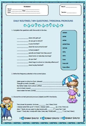Daily Routines Wh Questions And Personal Pronouns Worksheet Personal Pronouns Personal Pronouns Worksheet Question Words