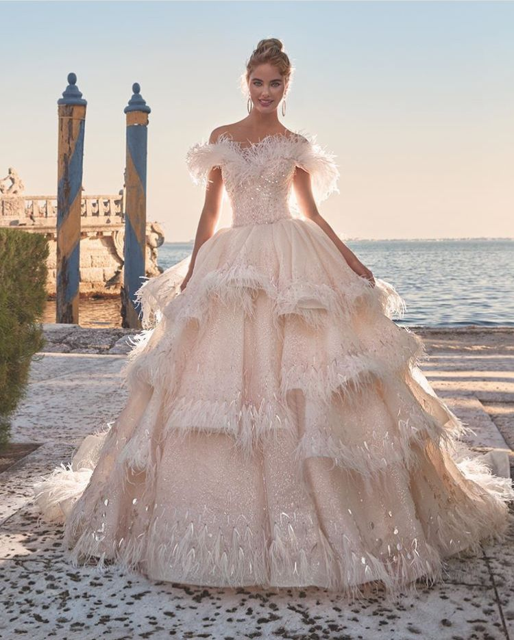 Beautiful Off The Shoulder Wedding Pink Wedding Dress In Princess Style Brud