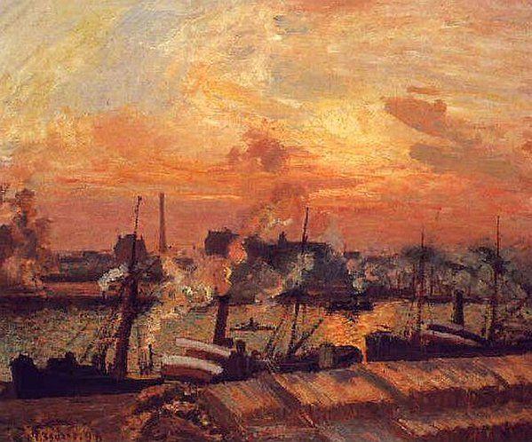 Camille Pissarro「Coucher-soleil Rouen」(1898)