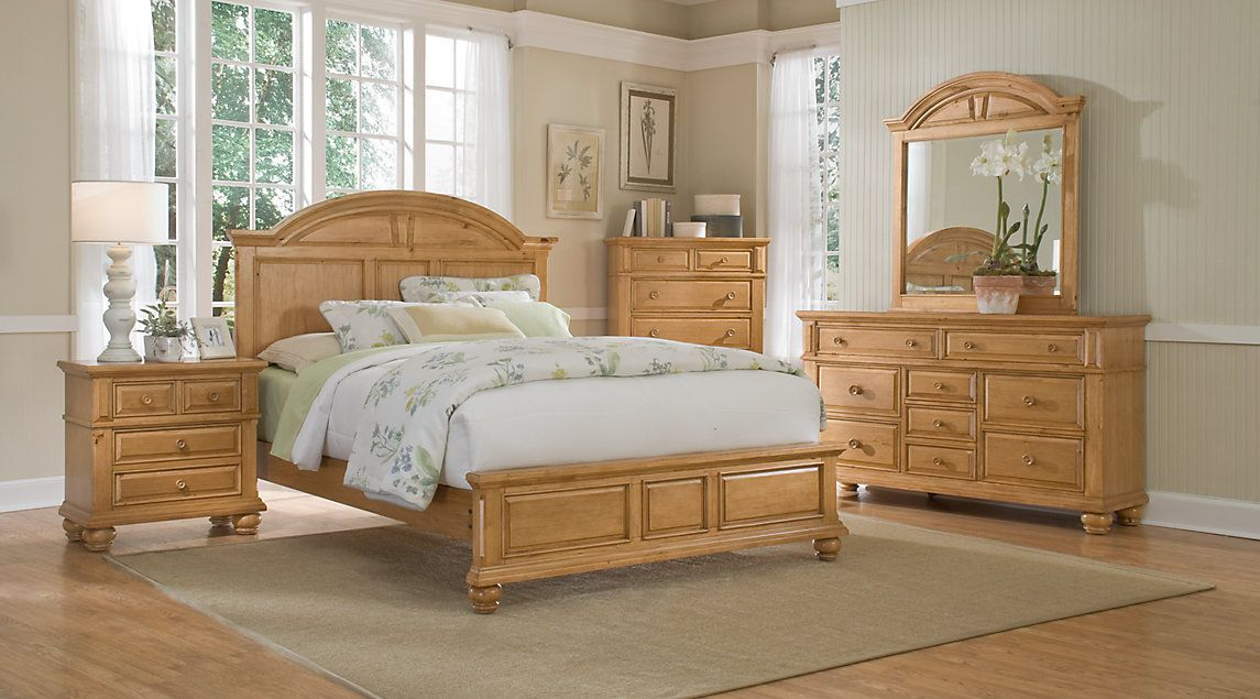 Light Wood Queen Bedroom Sets Pine Oak Beige Cream