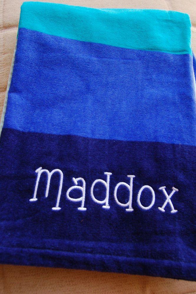 Personalized Beach Towel Custom Embroidered Towel Blue Custom
