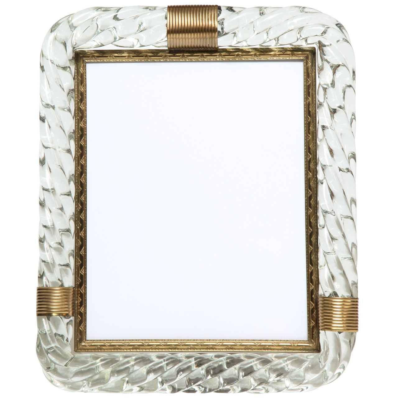 Murano Glass Rope Picture Frame with Brass Trim in the Manner of ...