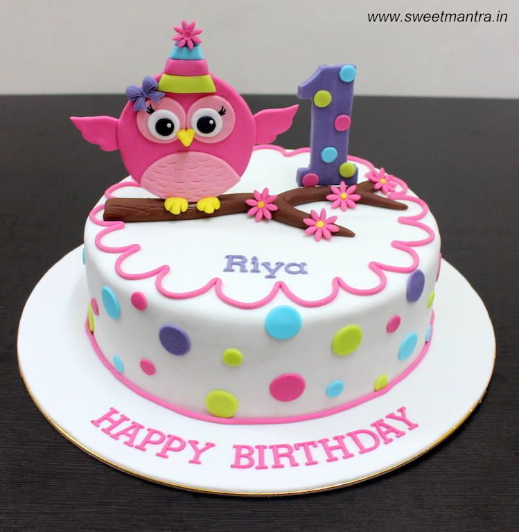 Owl theme customized designer colorful cute fondant cake for a