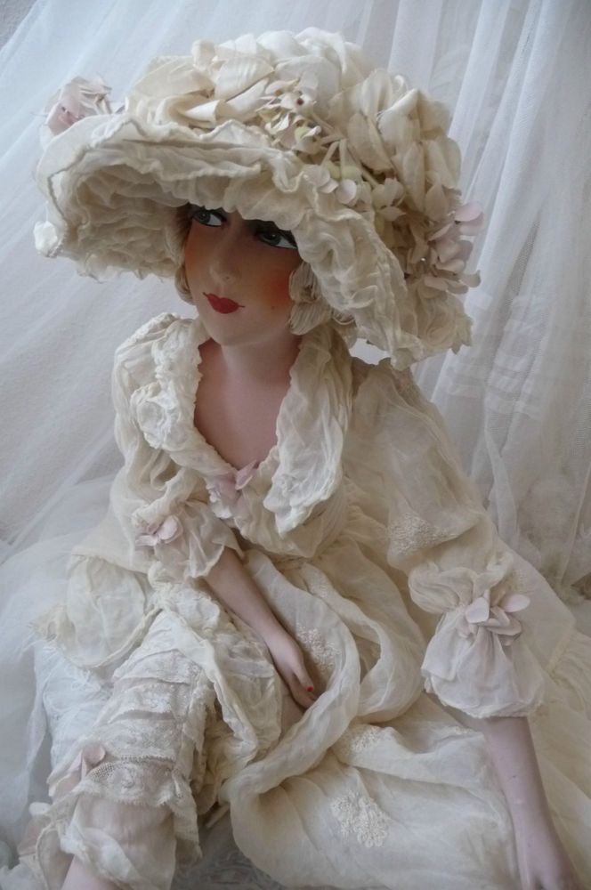 Details about Antique French boudoir doll head boudoir doll c 1920 Paris edwardian #dollhats