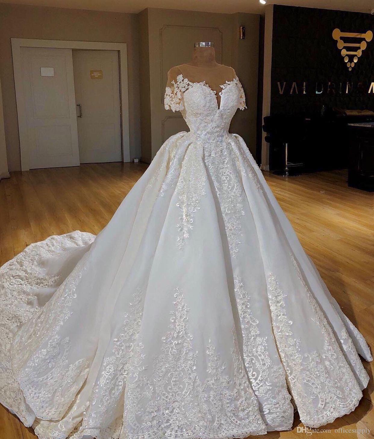 New Islamic Muslim Wedding Dresses 2019 Lace Bling Short Sleeves Arabic Bridal Gowns Ball Gowns Wedding Wedding Dresses Wedding Dresses Lace [ 1456 x 1242 Pixel ]