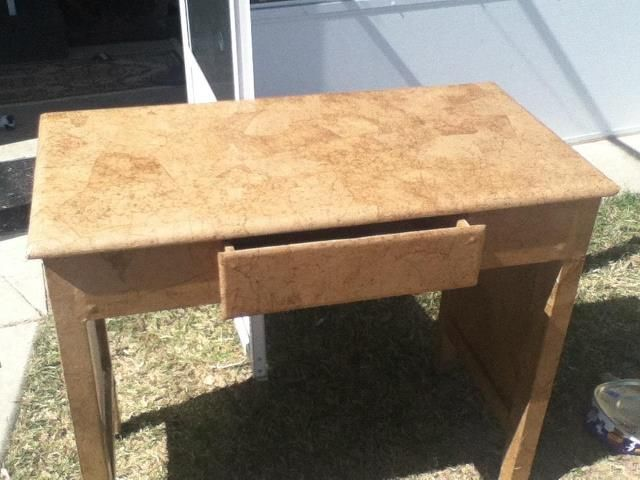 Brown Paper Bag Table!! This Old Rosewood Table Had Seen Better Days   Used