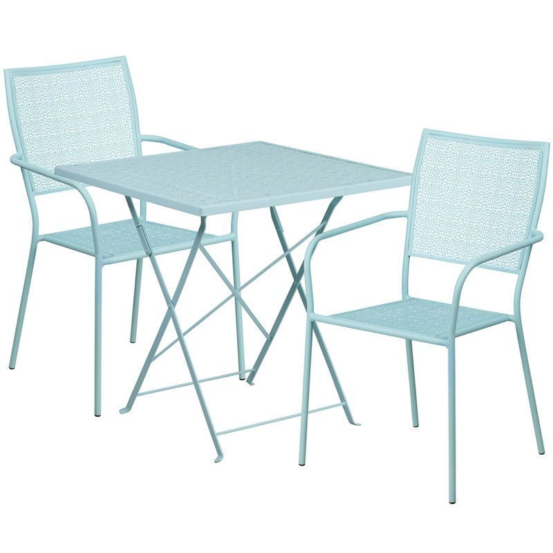 28 square sky blue indoor outdoor steel folding patio table set rh pinterest com