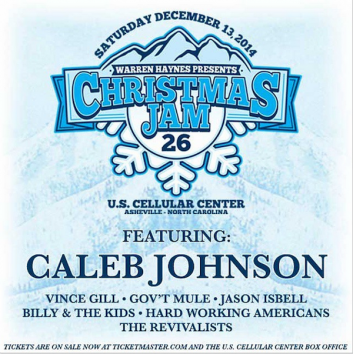 Caleb Johnson will join the lineup at this year's Warren Haynes Christmas Jam. The Asheville, NC singer-songwriter won the thirteenth season of American Idol and released his debut album Testify in 2014.  Warren Haynes' 26th Annual Christmas Jam is slated for December 13 at the US Cellular Center in Asheville, NC and will feature performances from Vince Gill, Gov't Mule, Jason Isbell, Billy and the Kids featuring Bill Kreutzmann, Hard Working Americans, The Revivalists and more.