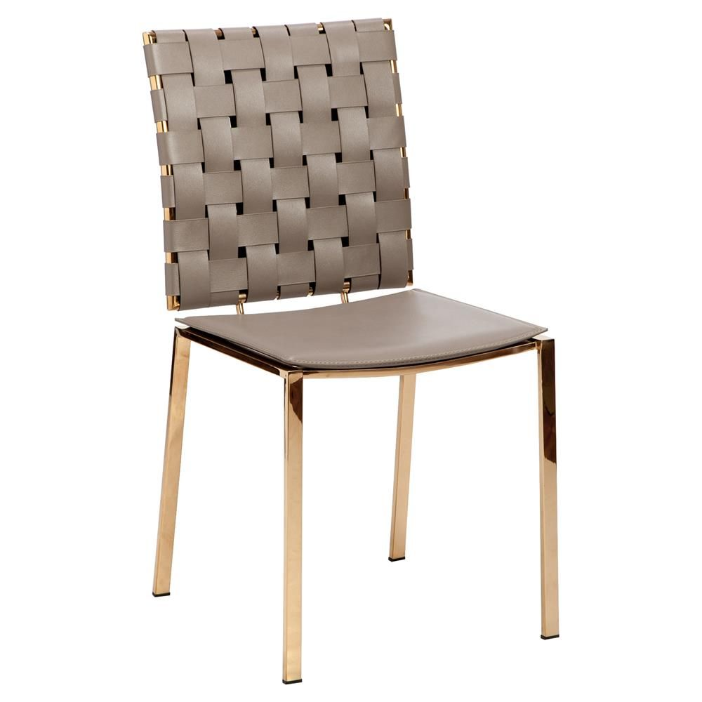 Interlude Bliss Modern Woven Taupe Leather Side Chairs Leather Side Chair Woven Chair Modern Side Chairs
