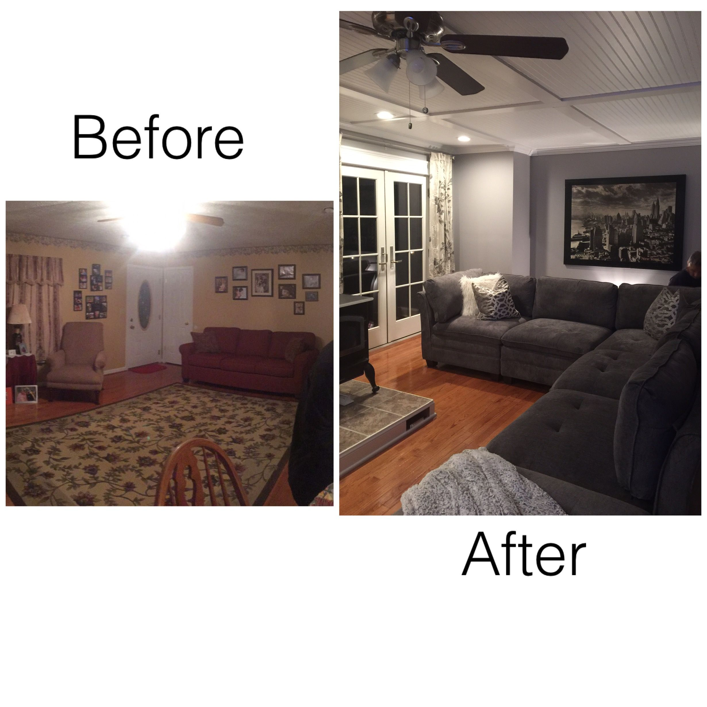 Before And After Living Room Remodel Beadboardceiling Costcofinds Modular Couch