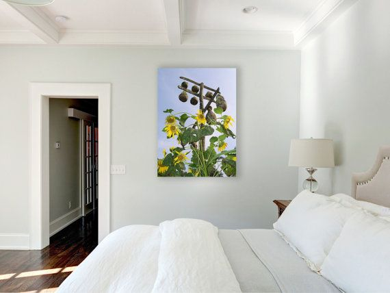 Large Wall Art Canvas Sunflowers Print Bird By