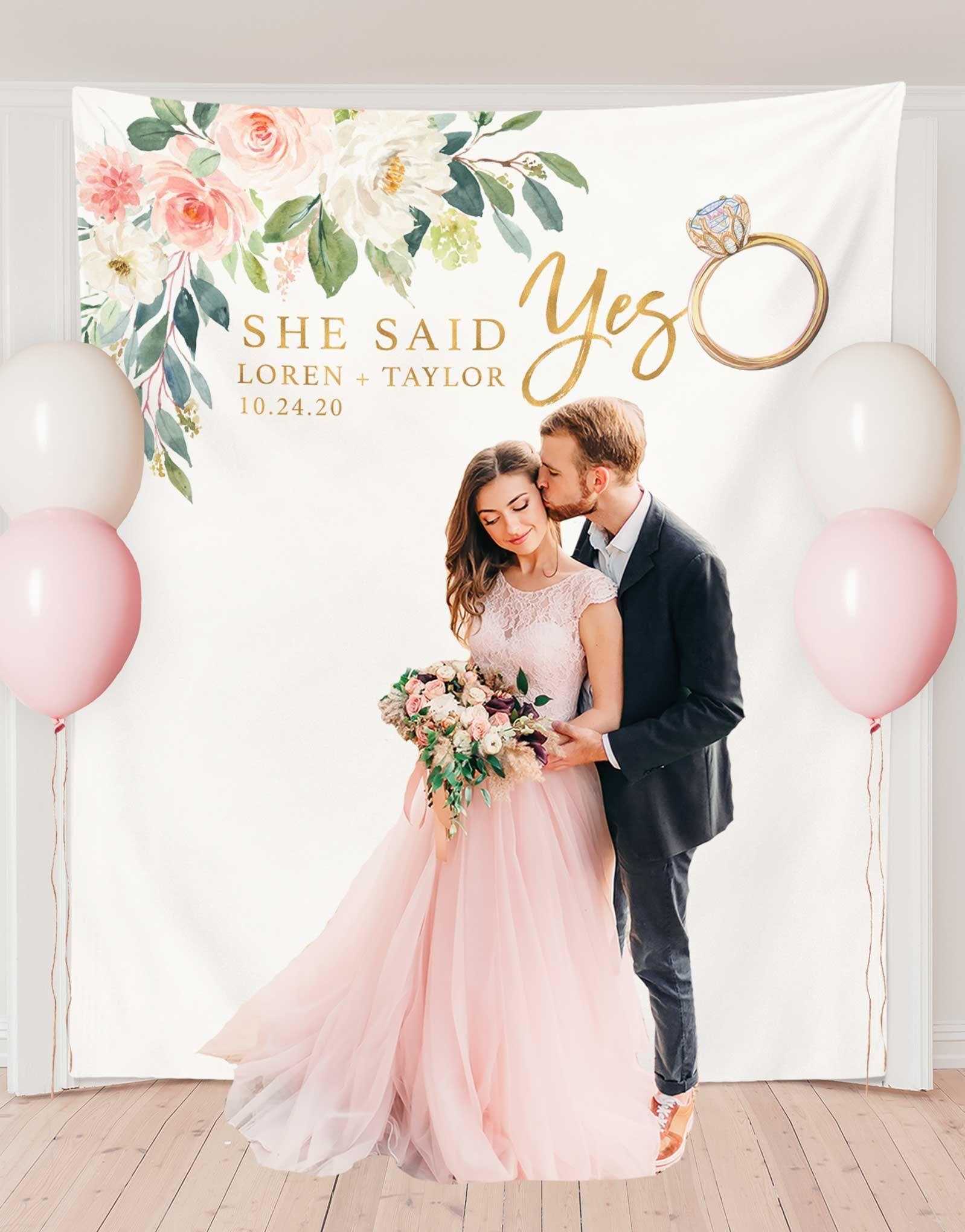 She Said Yes Backdrop, Engagement Party Photo Backdrop Design