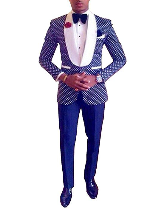 Pretygirl Men\'s Polka Dots Groomsmen Shawl Lapel Suit/Bridegroom ...