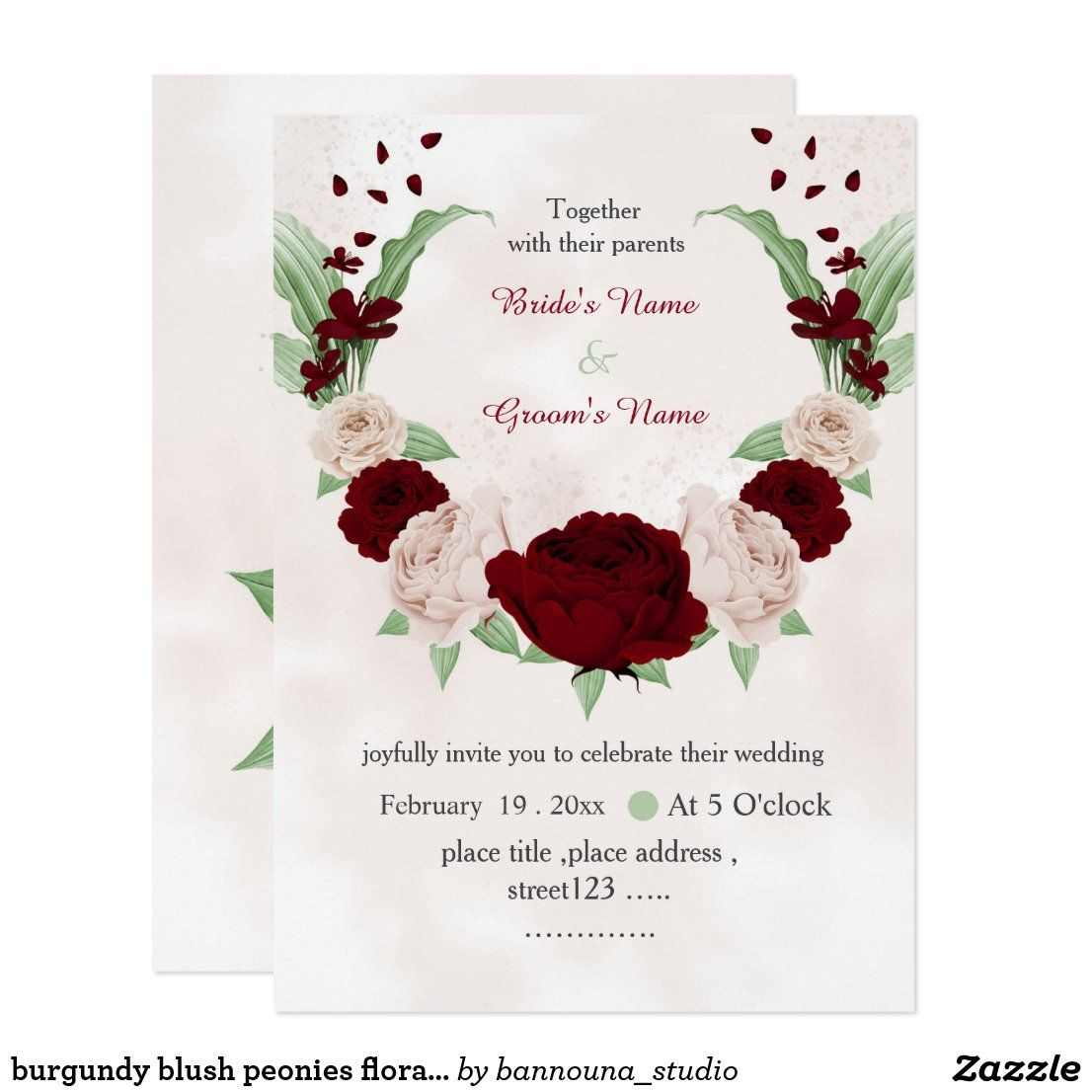 burgundy blush peonies floral wreath wedding invitation | Zazzle.com