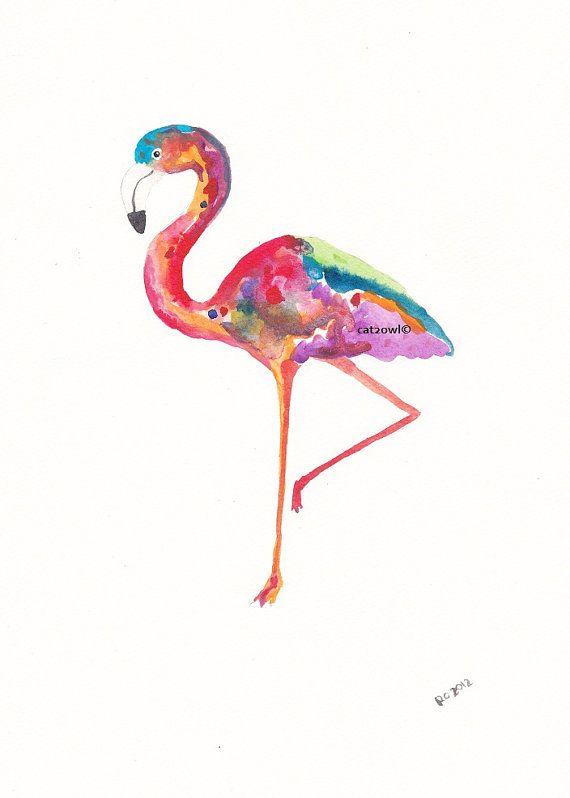 Rainbow flamingos