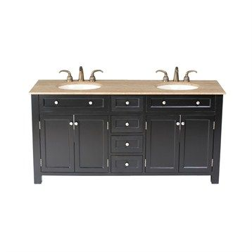 Stufurhome 72 Vesta Double Sink Vanity With Travertine Marble Top