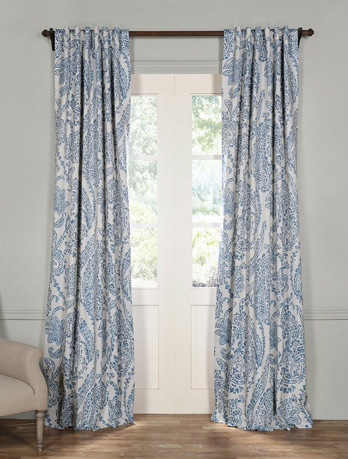 Tea Time China Blue Blackout Room Darkening Curtain Drapes Curtains Custom Drapes Blue Blackout Curtains