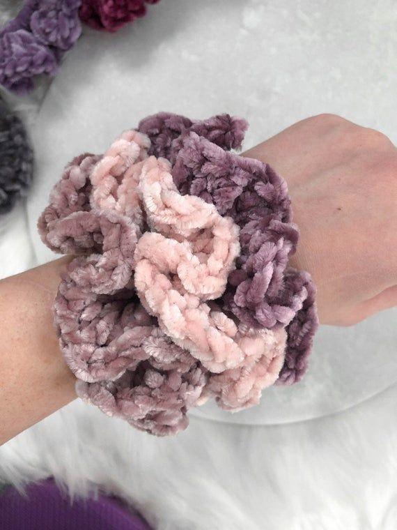 New Colors! Velvet Crochet Scrunchies   fiber art, knit, 90s style, 90s fashion, hair accessories, g #crochetscrunchies