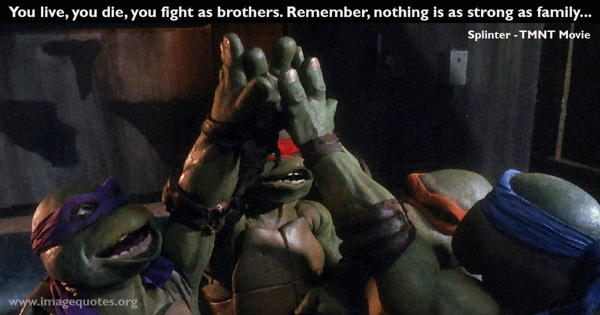 You Live You Die You Fight As Brothers Remember Nothing Is As Strong As Family Quote By Splinter Fr Teenage Mutant Ninja Turtles Movie Tmnt Movie Tmnt