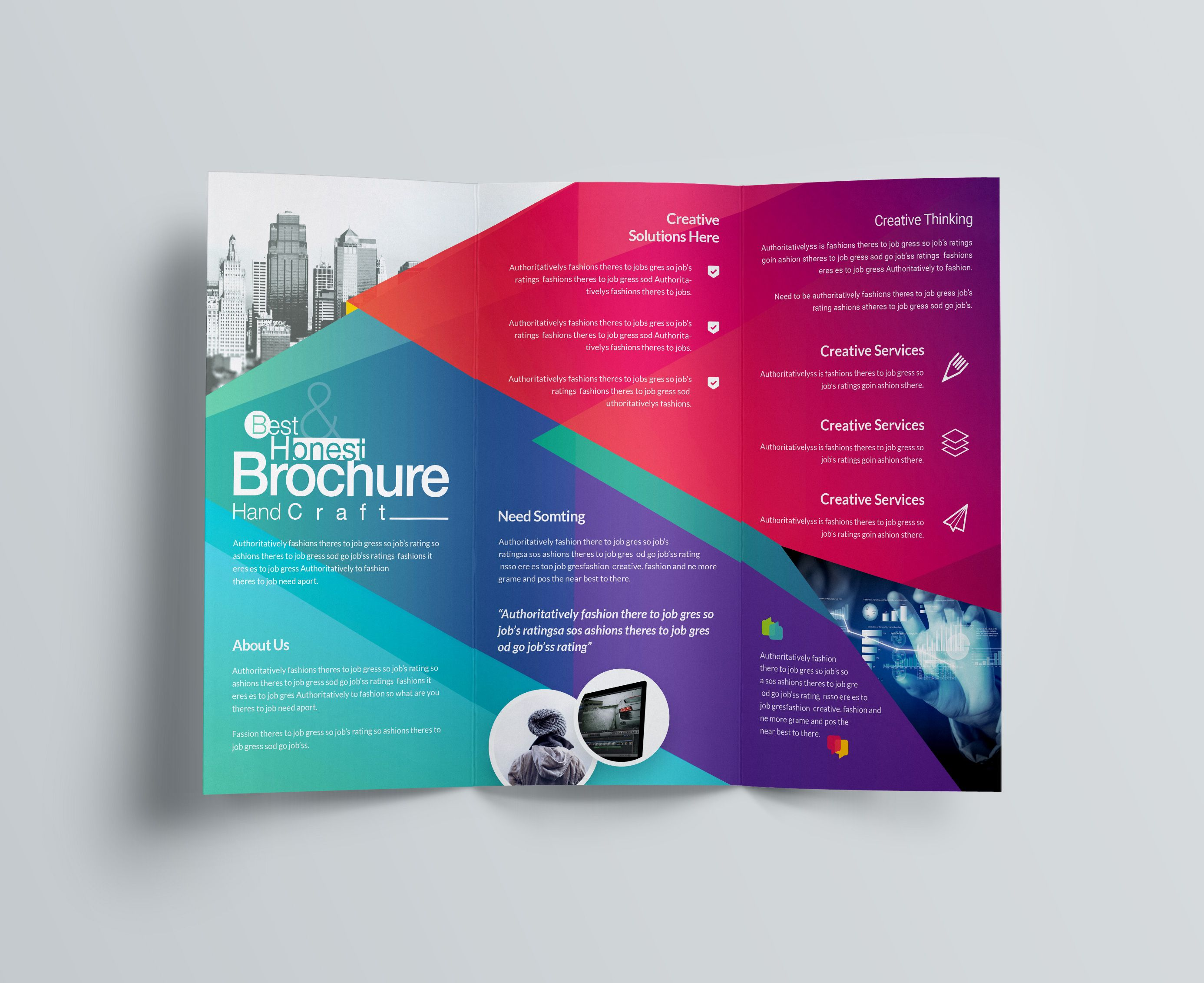 Excellent Professional Corporate Tri Fold Brochure Template In