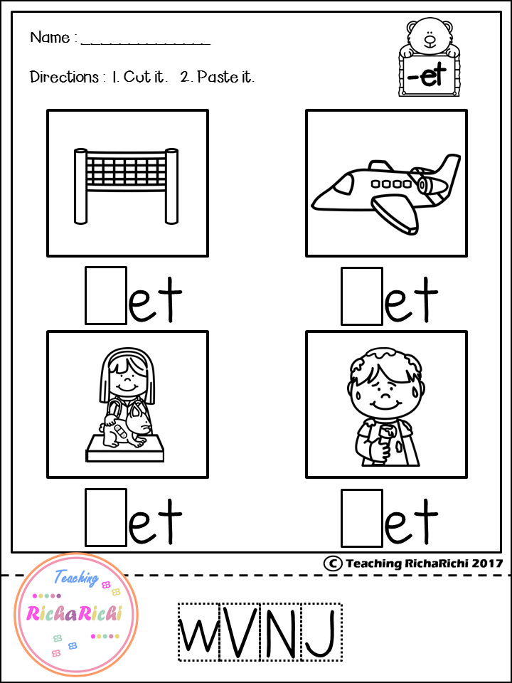 CVC cut and paste for pre K and kindergarten.