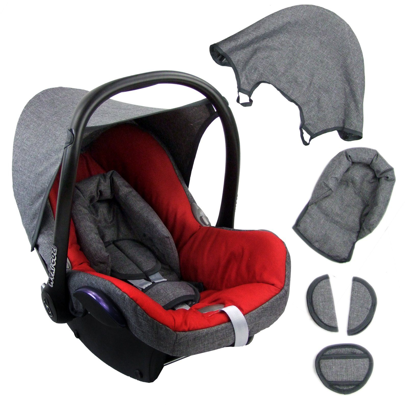 Bambiniwelt Ersatzbezug F R Maxi Cosi Cabriofix 6 Tlg Grau Rot Bezug F R Babyschale Komplett Set In 2020 Baby Car Seats Car Seats Baby Car