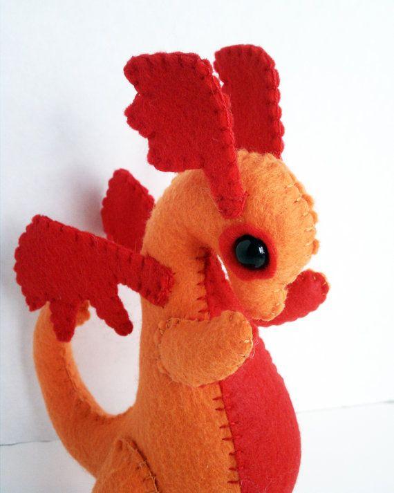Baby Dragon felt plush stuffed animal- orange with red ...