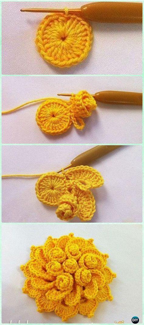 Crochet May\'s Flower Free Pattern - Crochet 3D Flower Motif Free ...