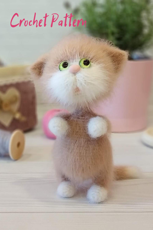 Kitten Amigurumi crochet pattern, Cute crochet cat pattern.