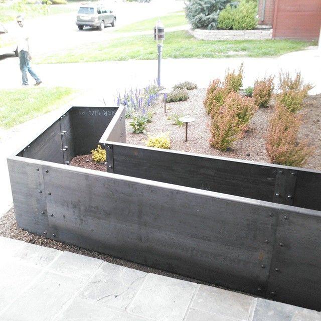 Kitchen Garden Box With Wire Top: 105 Degree Corten Steel Planter Box. Laser Cut, CNC Press