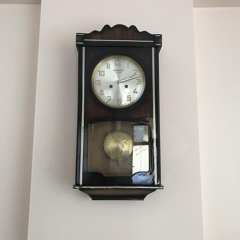 Antique Mechanical Wall Clock Vintage Pendulum Clock Wooden Case Wall Clock Hang Clock Mechanical Wall Clock Clock Wooden Clock